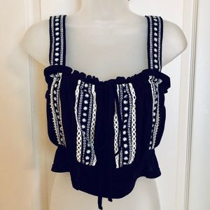 Free People Tops - Blue White Top FREE PEOPLE Crop Embroidered NWT